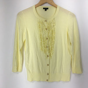 Talbots S Small Sweater Cardigan Yellow Tuxedo